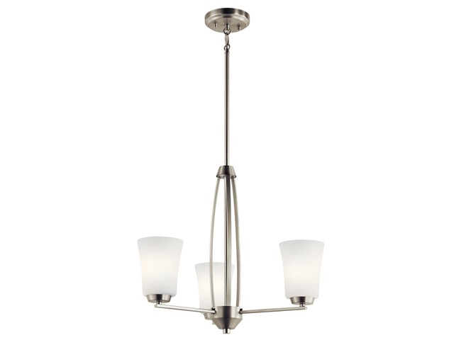 Tao 3 Light Chandelier Brushed Nickel