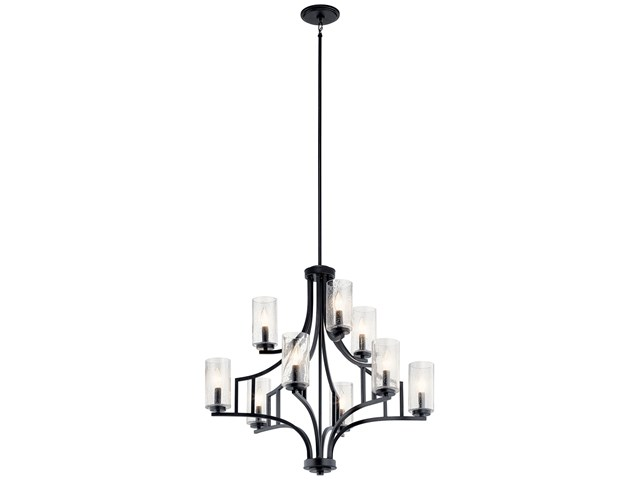 Vara 9 Light Chandelier Distressed Black