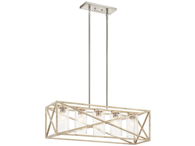Moorgate™ 5 Light Linear Chandelier Distressed Antique White