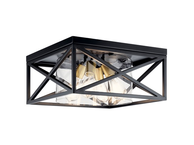 "Moorgate™ 16"" 4 Light Flush Mount with Clear Glass Black"