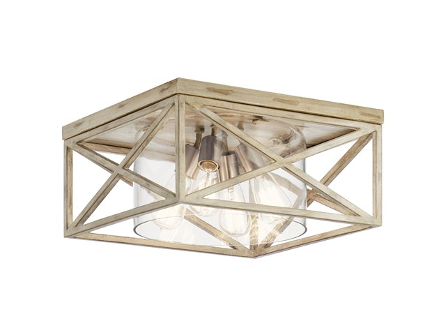 "Moorgate™ 16"" 4 Light Flush Mount with Clear Glass Distressed Antique White"