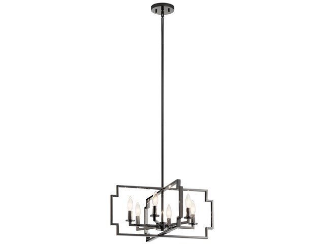 "Downtown Deco 21.5"" 6 Light Convertible Chandelier Midnight Chrome"