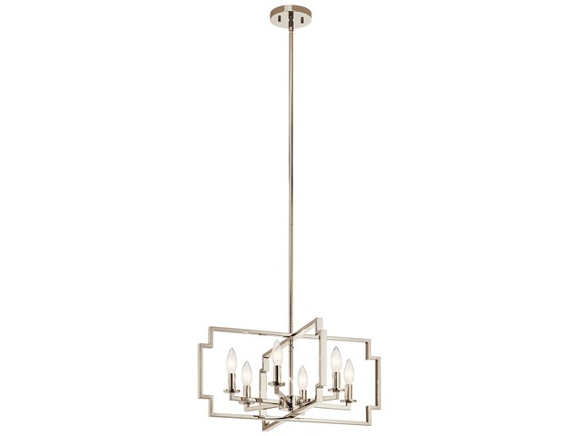 Downtown Deco 6 Light Convertible Chandelier Polished Nickel