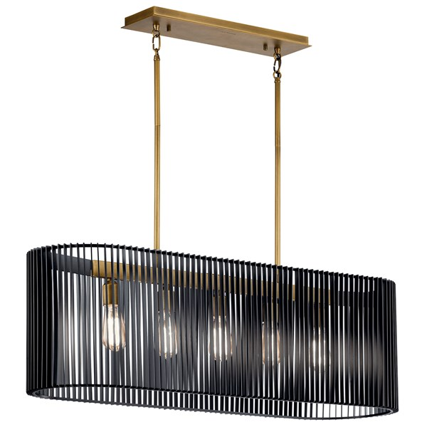 Linara 5 Light Linear Chandelier Black