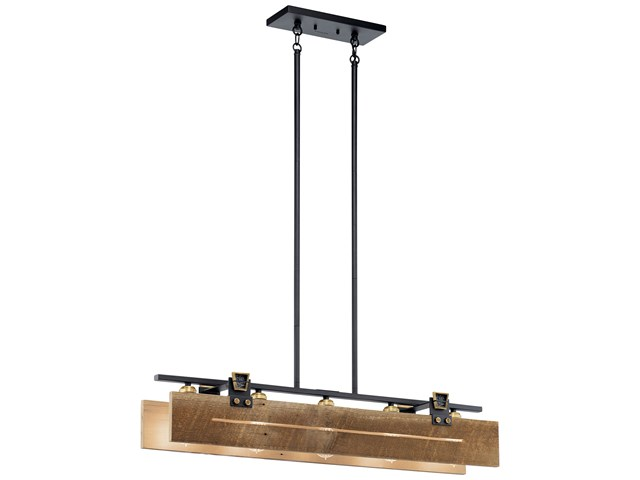 Ridgewood 5 Light Linear Chandelier Textured Black