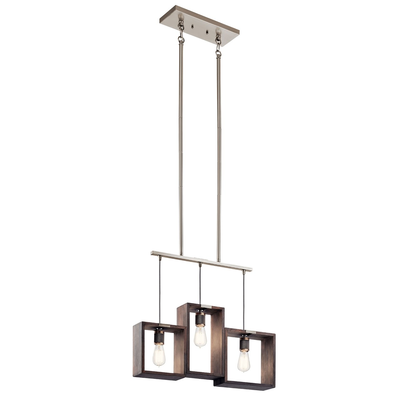 Industrial Frames™ 3 Light Linear Chandelier Classic Pewter