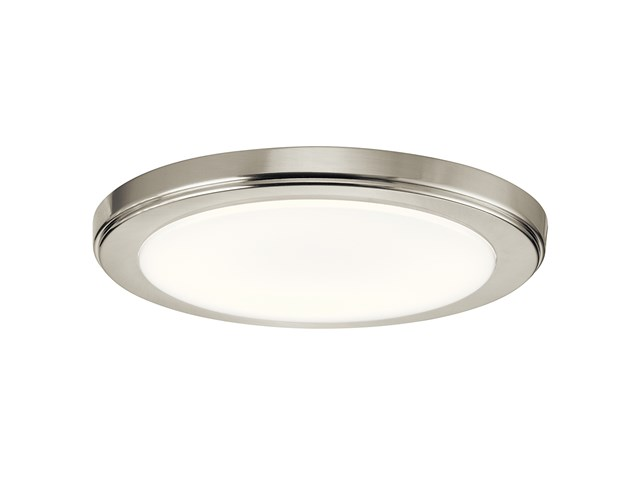 "Zeo 4000K LED 10"" Round Flush Mount Brushed Nickel"