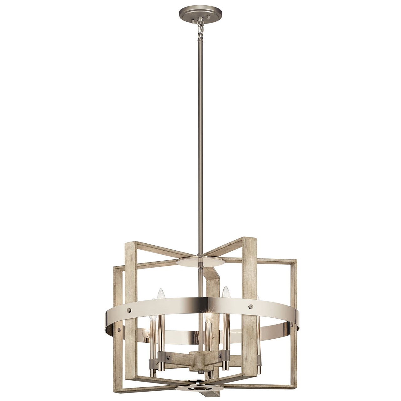Peyton 5 Light Chandelier White Washed Wood