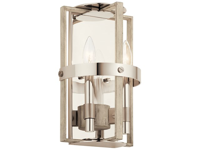 Peyton 2 Light Wall Sconce White Washed Wood