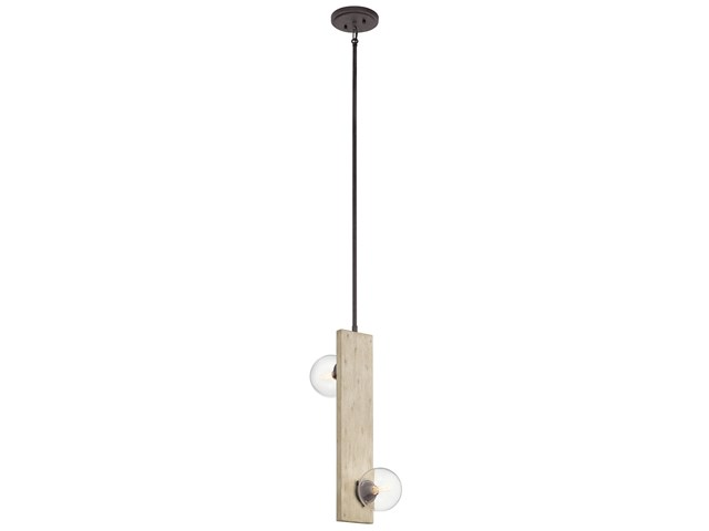 Marquee 2 Light Pendant White Washed Wood