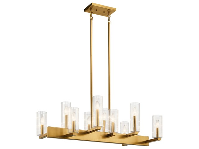 Cleara™ 10 Light Linear Chandelier Fox Gold