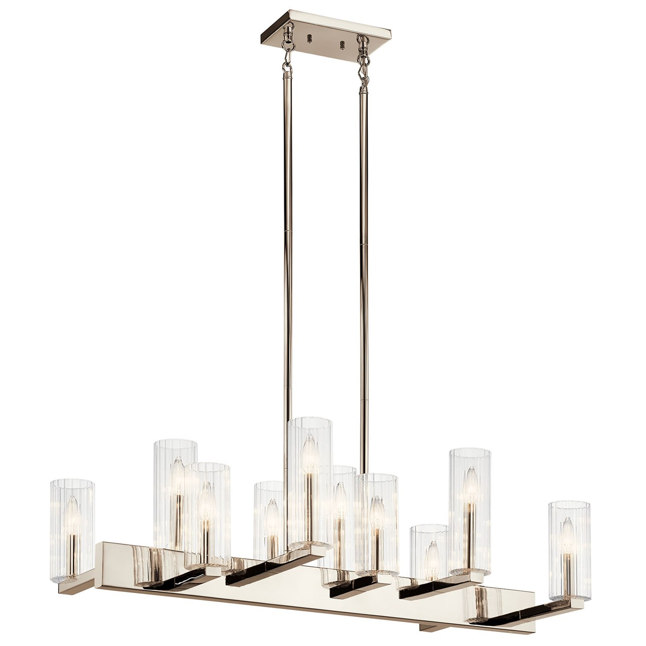 Cleara™ 10 Light Linear Chandelier Polished Nickel™