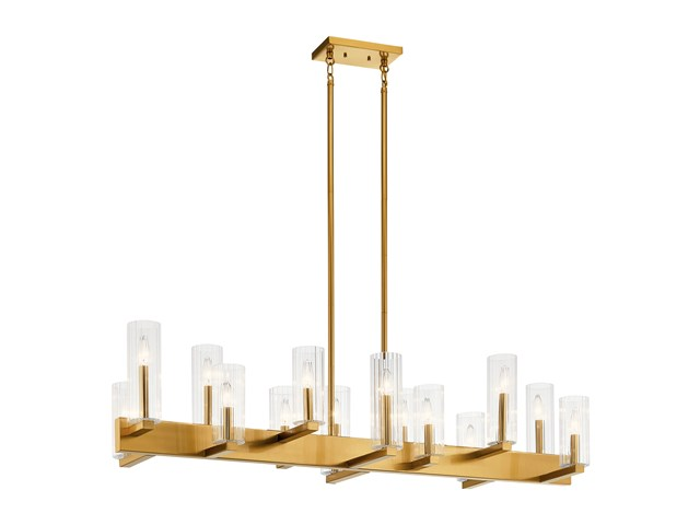 Cleara™ 14 Light Linear Chandelier Fox Gold