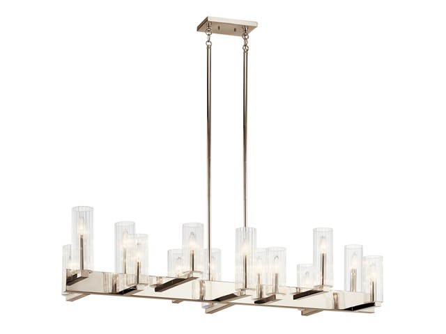 Cleara™ 14 Light Linear Chandelier Polished Nickel™