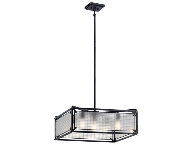 Steel 4 Light Chandelier Distressed Black