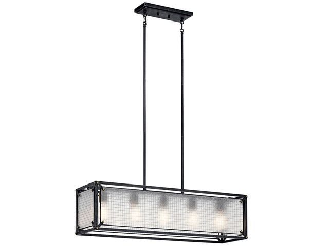 Steel 5 Light Linear Chandelier Distressed Black