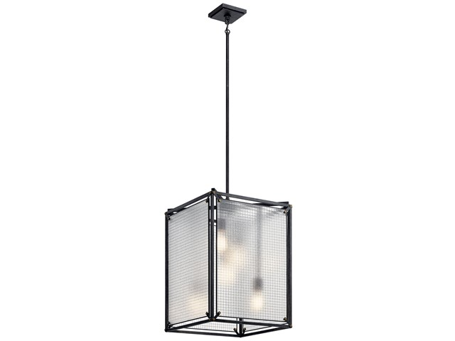 Steel 5 Light Foyer Pendant Distressed Black