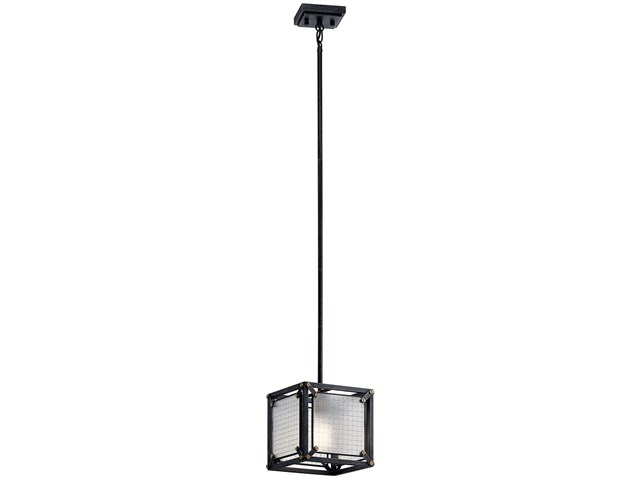 Steel 1 Light Mini Pendant Distressed Black