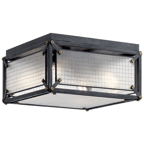 Steel 4 Light Flush Mount Distressed Black