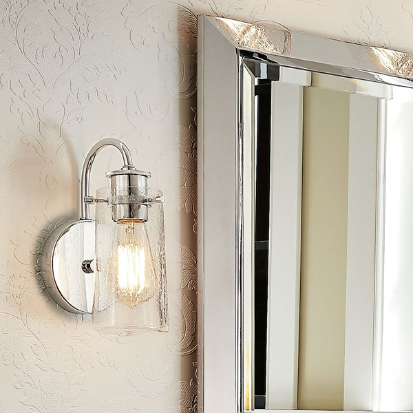 "Braelyn™ 9.5"" 1 Light Wall Sconce with Clear Seeded Glass Classic Pewter"