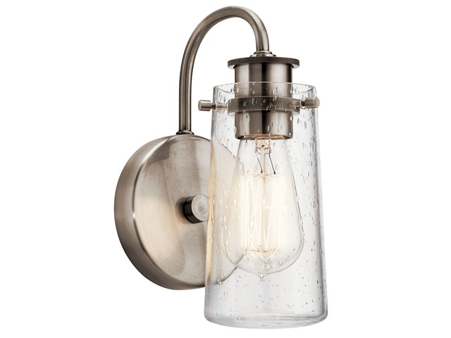 "Braelyn 9.5"" 1 Light Wall Sconce with Clear Seeded Glass Classic Pewter"