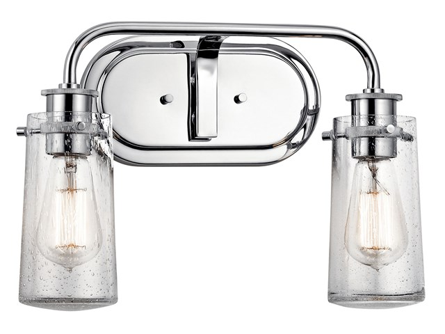 "Braelyn™ 14.75"" 2 Light Vanity Light with Clear Seeded Glass Chrome"