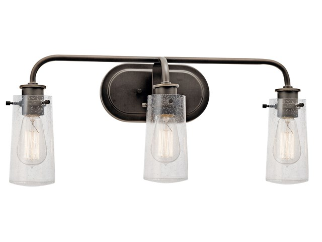 "Braelyn™ 24"" 3 Light Vanity Light with Clear Seeded Glass Olde Bronze®"