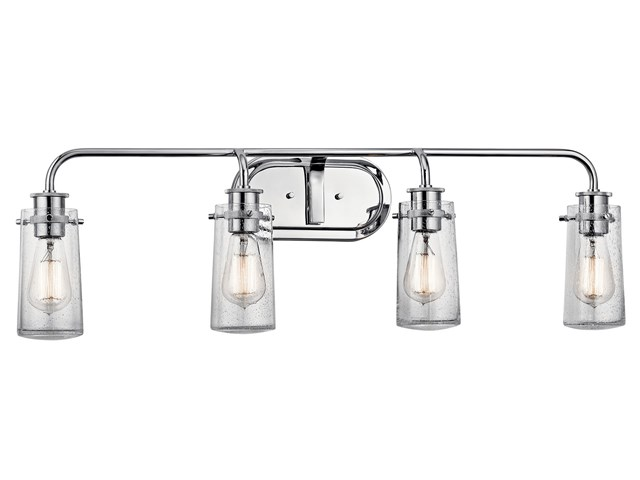 "Braelyn™ 44"" 4 Light Vanity Light with Clear Seeded Glass Chrome"