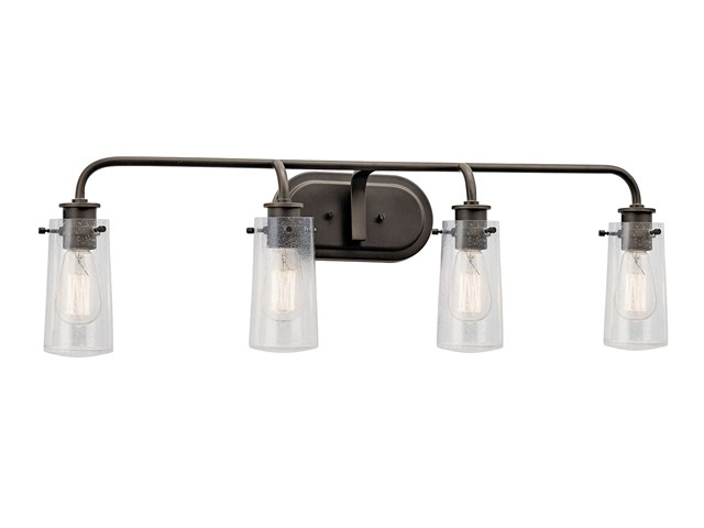 "Braelyn™ 44"" 4 Light Vanity Light with Clear Seeded Glass Olde Bronze®"