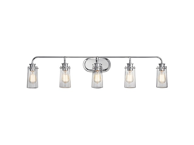 "Braelyn™ 44"" 5 Light Vanity Light with Clear Seeded Glass Chrome"