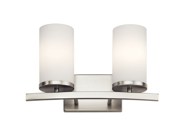 "Crosby 15"" 2 Light Vanity Light Satin Etched Cased Opal Brushed Nickel"