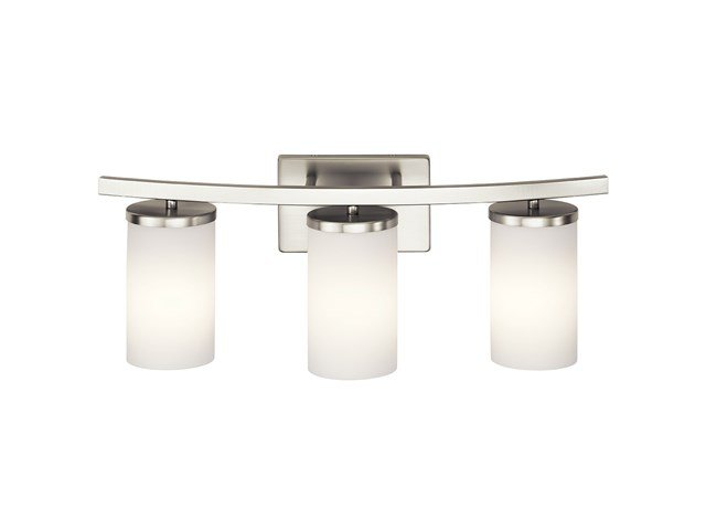 "Crosby 23"" 3 Light Vanity Light Satin Etched Cased Opal Brushed Nickel"