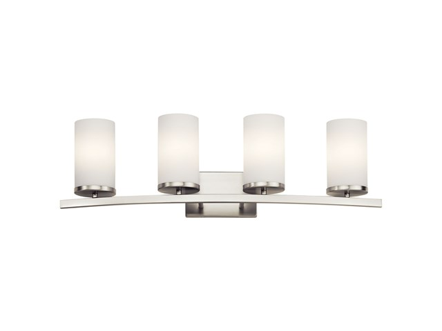 "Crosby 31"" 4 Light Vanity Light Satin Etched Cased Opal Brushed Nickel"