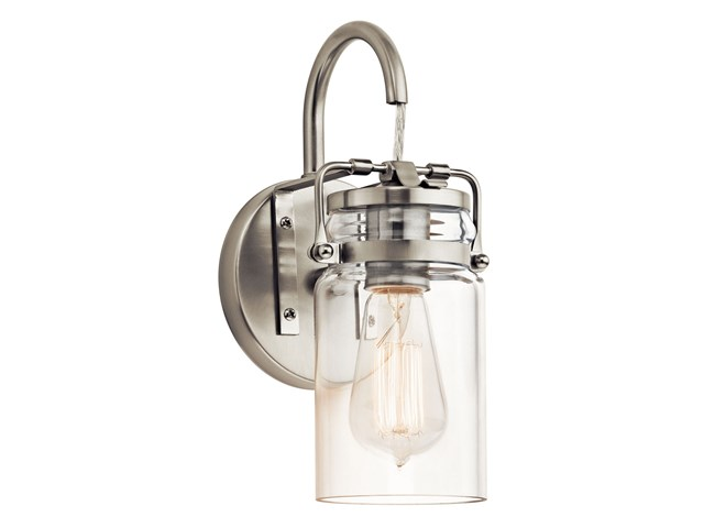 "Brinley™ 11.5"" 1 Light Wall Sconce with Clear Glass Brushed Nickel"