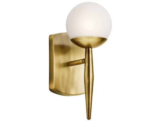 "Jasper 11.5"" 1 Light Halogen Wall Sconce with Satin Etched Cased Opal Glass Natural Brass"