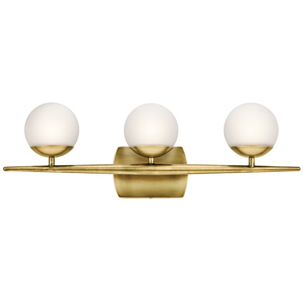 "Jasper 24.5"" 3 Light Halogen Vanity Light with Satin Etched Cased Opal Glass Natural Brass"