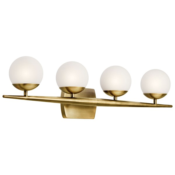 "Jasper 32.25"" 4 Light Halogen Vanity Light with Satin Etched Cased Opal Glass Natural Brass"