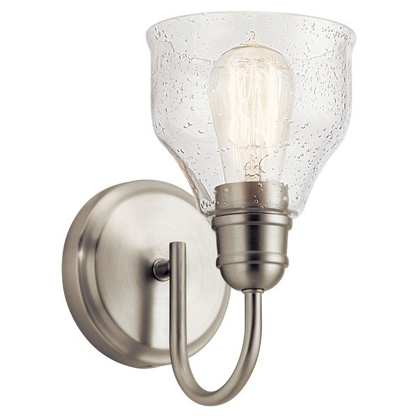 "Avery 9.25"" 1 Light Vanity Light with Clear Seeded Glass Brushed Nickel"