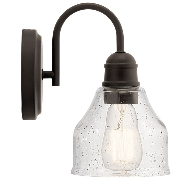 "Avery 9.25"" 1 Light Vanity Light with Clear Seeded Glass Olde Bronze®"
