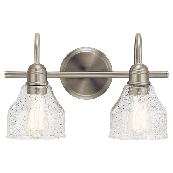 "Avery 14.75"" 2 Light Vanity Light with Clear Seeded Glass Brushed Nickel"