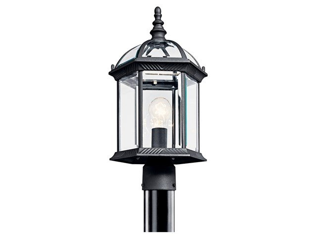 Barrie™ 1 Light Post Mount with LED Bulbs Black