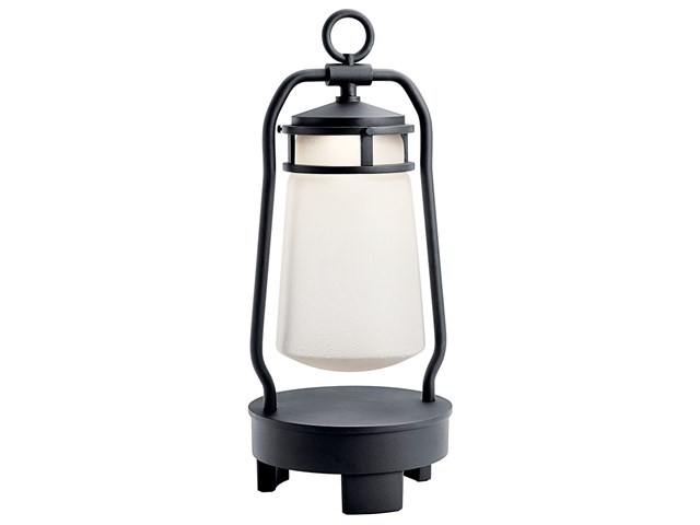 "Lyndon™ 19"" Portable Bluetooth LED Lantern with Clear Seeded Glass Textured Black"