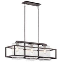 Wright 3 Light Linear Chandelier Weathered Zinc