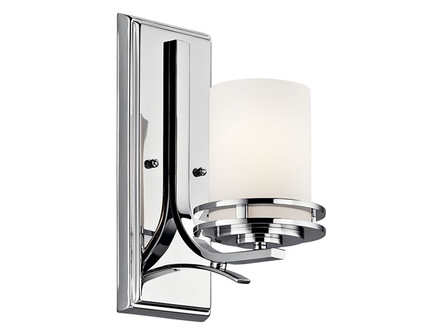 "Hendrik™ 12"" 1 Light Wall Sconce with Satin Etched Cased Opal Chrome"