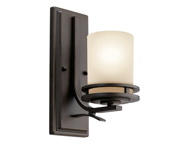 "Hendrik™ 12"" 1 Light Wall Sconce with Light Umber Etched Glass Olde Bronze®"