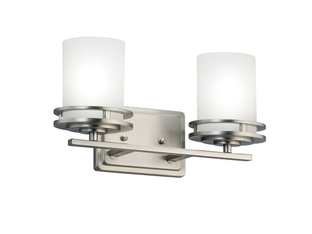 "Hendrik™ 14.5"" 2 Light Vanity Light with Satin Etched Cased Opal Glass Brushed Nickel"