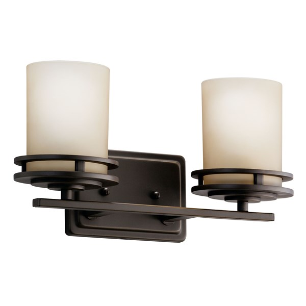 "Hendrik™ 14.5"" 2 Light Vanity Light with Light Umber Etched Glass Olde Bronze®"