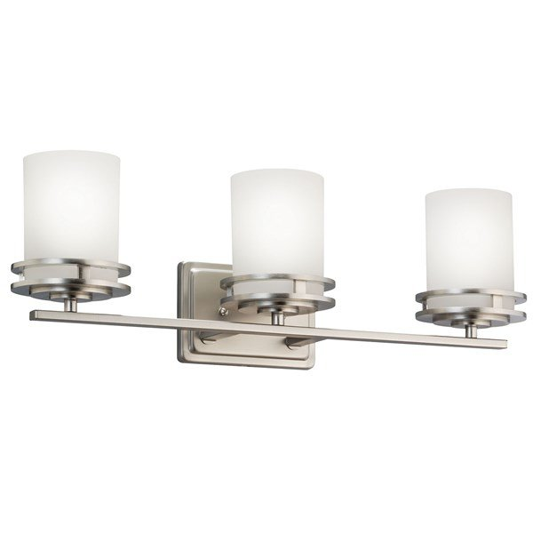 "Hendrik™ 24"" 3 Light Vanity Light with Satin Etched Cased Opal Glass Brushed Nickel"