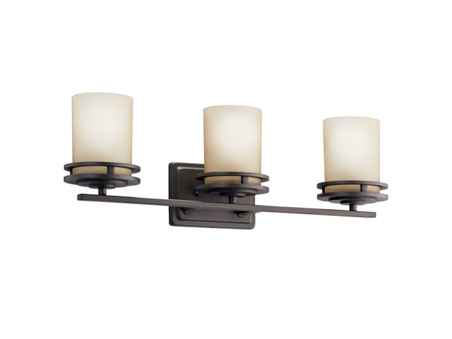 "Hendrik™ 24"" 3 Light Vanity Light with Light Umber Etched Glass Olde Bronze®"