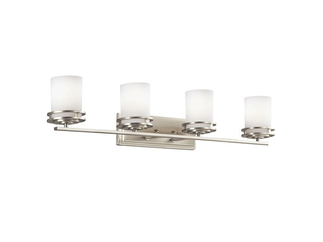 "Hendrik™ 33.75"" 4 Light Vanity Light with Satin Etched Cased Opal Brushed Nickel"